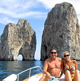 Boat tour of the Faraglioni, Capri Italy